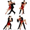 Four images of dancing couple